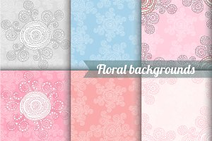 6 abstract flower backgrounds