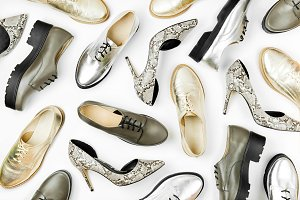 Gold and silver shoes background