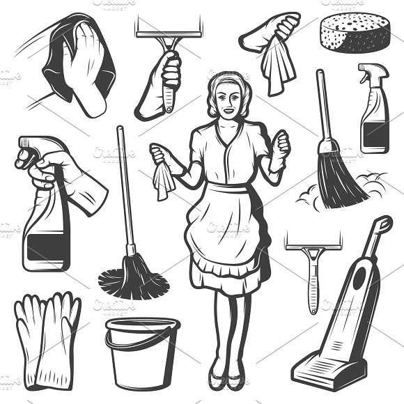 Vintage Cleaning Service Icons Set