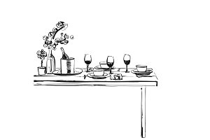 Romantic dinner with wine. Food and drink sketch. Dish in beatufull wares.