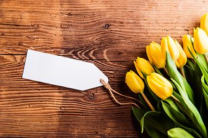 Bouquet of yellow tulips and empty paper tag