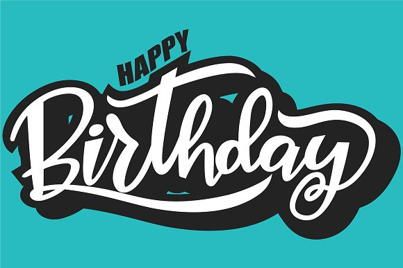 Happy Birthday Lettering On Blue
