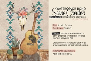 Boho Scene Creator (Watercolor)