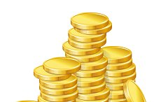 Stacks of gold coins.