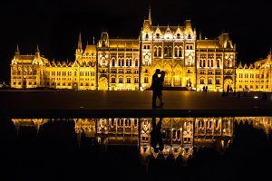 Night Budapest with a couple in love