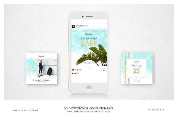 Gold Watercolor Social Media Pack