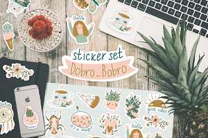 Cute sticker set Dobro_Bobro