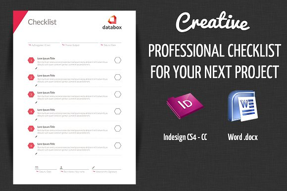 professional project checklist stationery