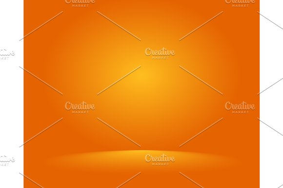 Empty Orange Studio Room Used As Background For Display Your Products Vector