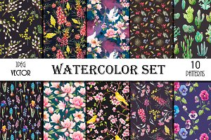 10 Floral Patterns Watercolor Set