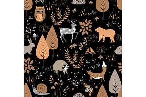 Cute forest seamless pattern with raccoon and other animals in childish cartoon style. Vector illustration, pastel palette