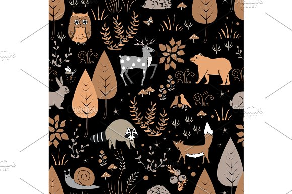 Cute Forest Seamless Pattern With Raccoon And Other Animals In Childish Cartoon Style Vector Illustration Pastel Palette
