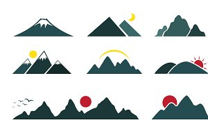 Vector set of mountain. Icon.