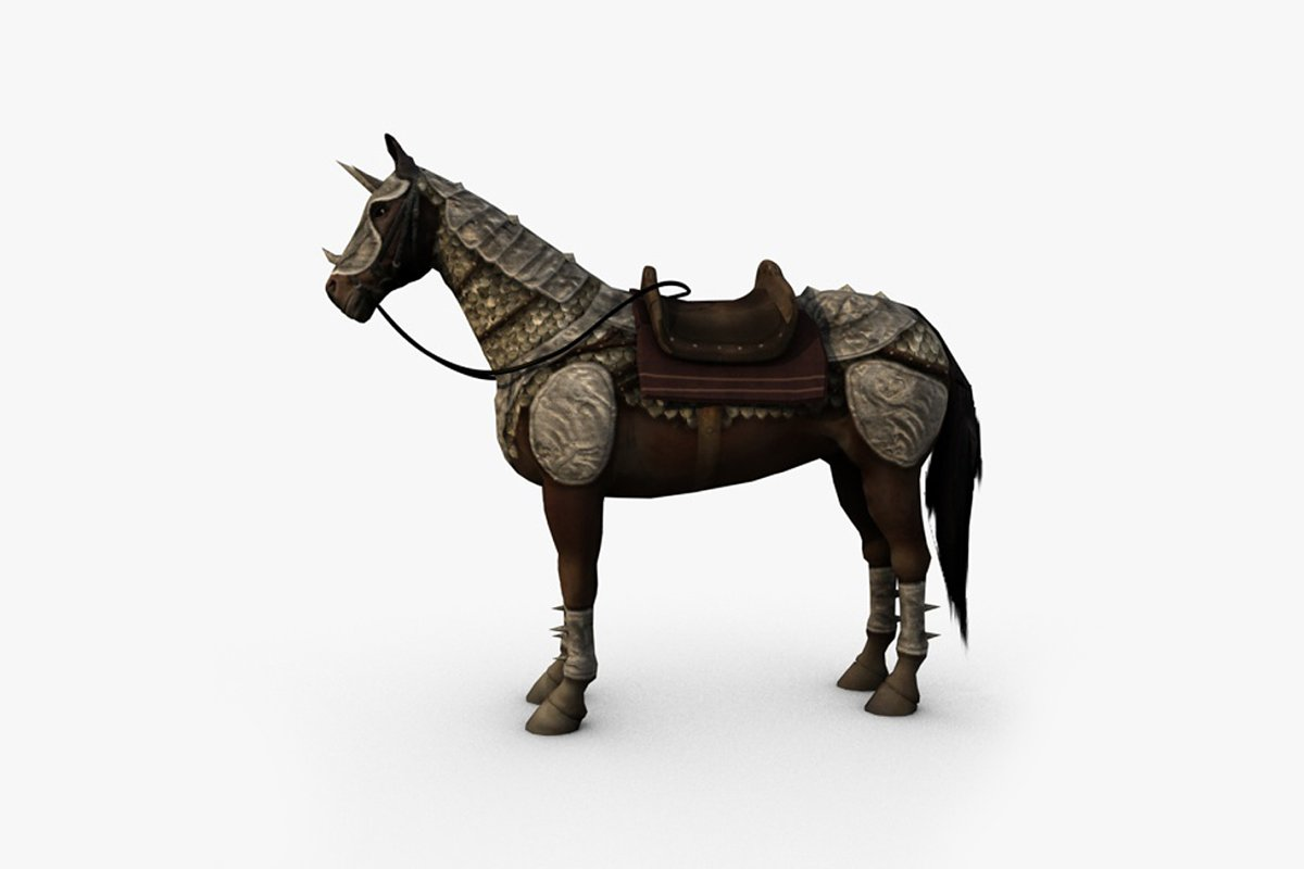 Horse with armor and saddle