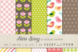 Retro Spring Digital Papers