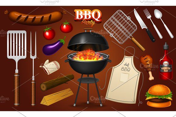 Barbecue Grill Elements Set Isolated On Red Background BBQ Party Summer Time Meat Restaurant At Home Charcoal Kettle With Tools Sauce And Foods Kitchen Equipment For Menu Cooking Outdoors