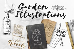 Garden Illustrations - Brushed Ink