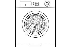 Washing machine laundering dollars coloring book