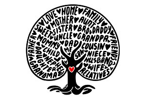 Family tree svg typography, clipart