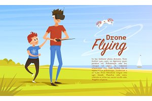 Remote control background. Modern drone concept for card and poster. Man teaches child to play outdoors in park. Radio robot, Video Technology. Piloting multicopter. Unmanned aerial vehicle.