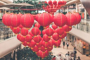 Bright red traditional Chinese lanterns, Bali island.