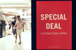 Special deal sign in the shopping mall in Asia.