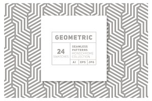 24 Geometric Monochrome Patterns