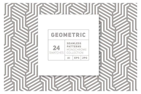 24 Geometric Monochrome Patterns