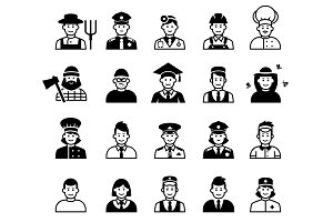 Avatar and People occupations icons