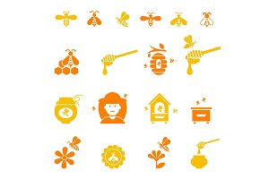 Bee and honey icon set. Organic natural .