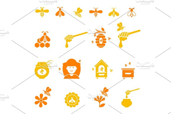 Bee And Honey Icon Set Organic Natural
