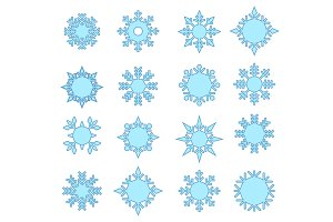 Snowflake winter set of blue isolated icon silhouette.