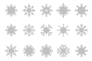 Snowflake vector icon background set white color.