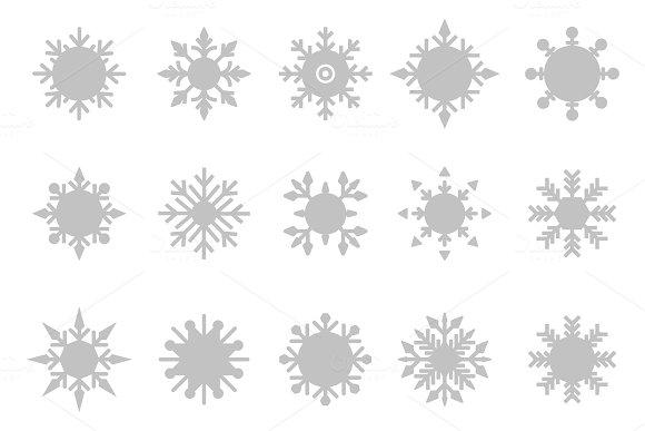 Snowflake Vector Icon Background Set White Color