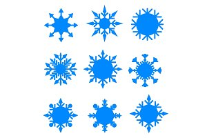 Winter blue christmas snow flat crystal element.