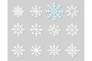 Flat icons of snow flakes silhouette.