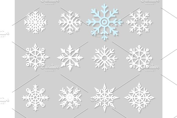 Flat Icons Of Snow Flakes Silhouette