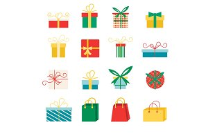 Set of vector icons in flat style for Christmas.