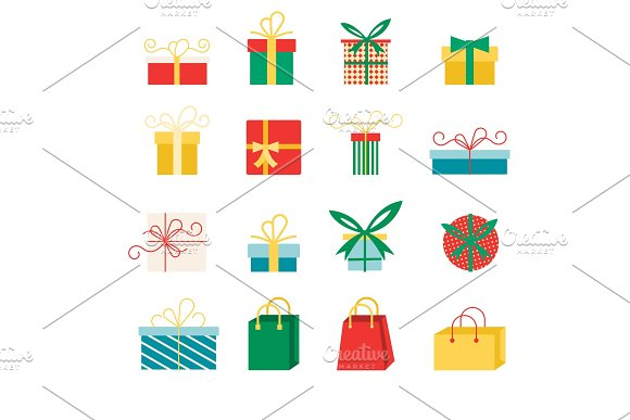 Set Of Vector Icons In Flat Style For Christmas