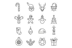 Set of Christmas elements. Outline icon collection.