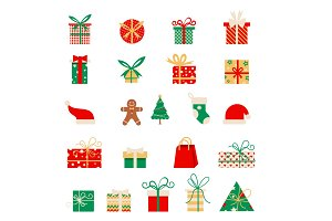 New year icons. Set of Christmas elements in a flat style. Vector Cartoon flat design.