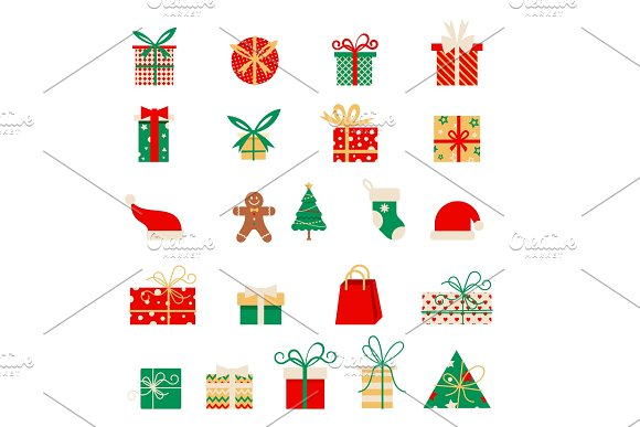 New Year Icons Set Of Christmas Elements In A Flat Style Vector Cartoon Flat Design