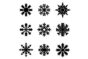 Set of winter Christmas snowflakes.