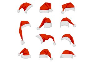 Set of red Santa Claus hats.