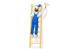 Painter at stairs paint wall. Cartoon