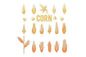 Corn icons. Popcorn silhouette.