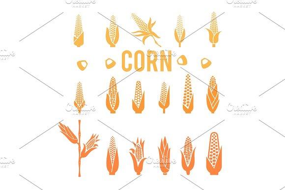 Corn Icons Popcorn Silhouette