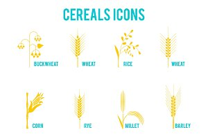 Cereals icons of grain plants.