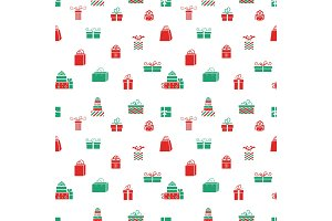 Seamless vector gift pattern, red and green gift boxes.