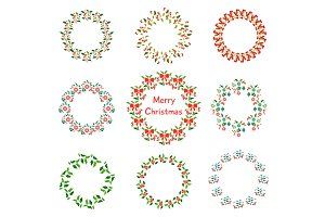 Christmas wreath set with winter floral. Hand drawn vector illustration.